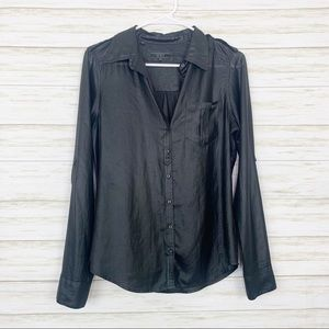 Guess   Black Sheer Button Front Blouse